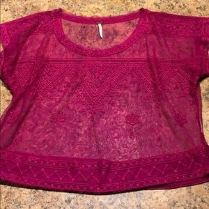 Free people hot pink/purple mesh embroider top